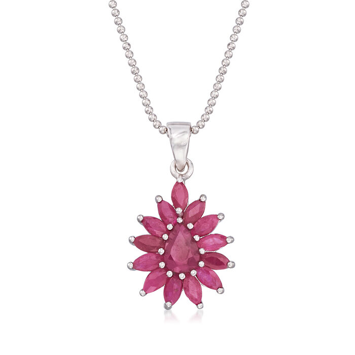 """2.60 ct. t.w. Ruby Cluster Pendant Necklace in Sterling Silver. 18"""""""