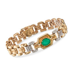 "C. 1980 Vintage 1.50 Carat Emerald and .20 ct. t.w. Diamond Link Bracelet in 14kt Yellow Gold. 7"", , default"