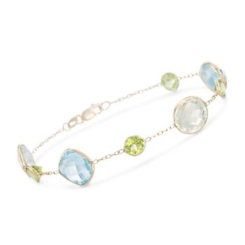 """23.40 ct. t.w. Multi-Stone Station Bracelet in 14kt Yellow Gold. 7.5"""", , default"""