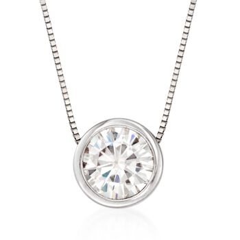 """1.00 Carat Bezel-Set Synthetic Moissanite Solitaire Necklace in 14kt White Gold. 18"""", , default"""