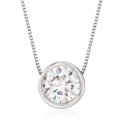 1.00 Carat Bezel-Set Synthetic Moissanite Solitaire Necklace in 14kt White Gold, , default
