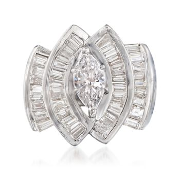 C. 1970 Vintage 2.75 ct. t.w. Diamond Ring in 14kt White Gold. Size 5, , default