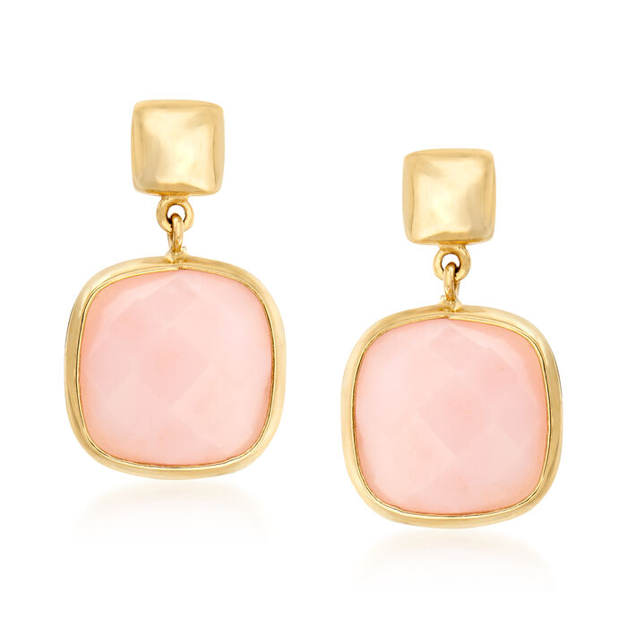 Italian Pink Opal Drop Earrings in 14kt Yellow Gold, , default