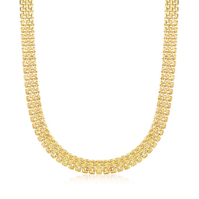 Italian 12mm 18kt Yellow Gold Over Sterling Silver Panther-Link Necklace