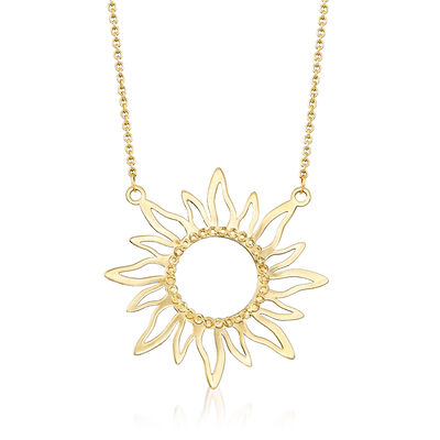 Italian 14kt Yellow Gold Diamond-Cut and Polished Sun Necklace , , default
