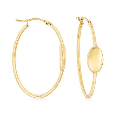 Italian 14kt Yellow Gold Hoop Earrings, , default