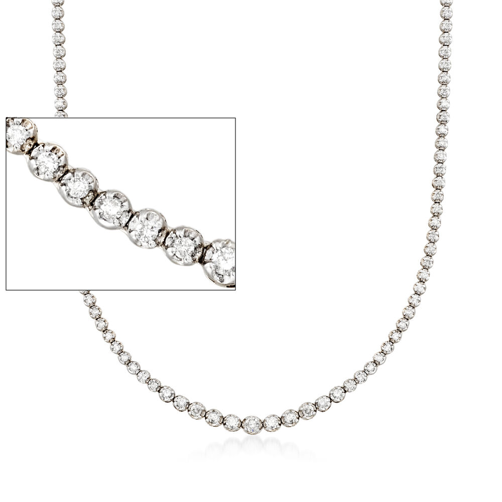 6642e21d19296 3.00 ct. t.w. Graduated Diamond Tennis Necklace in 14kt White Gold ...