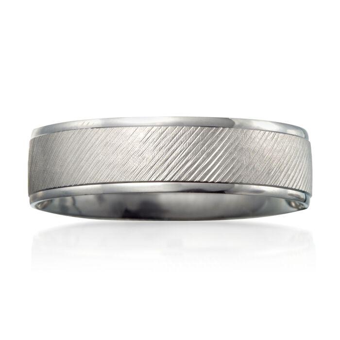 Men's 6mm 14kt White Gold Wedding Ring. Size 9, , default