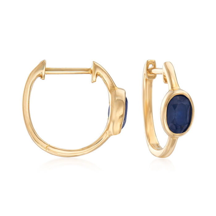 1.30 ct. t.w. Sapphire Hoop Earrings in 14kt Yellow Gold, , default