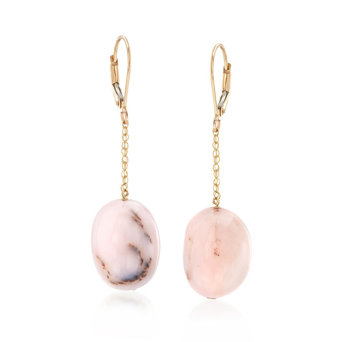 Pink Opal Drop Earrings in 14kt Yellow Gold, , default
