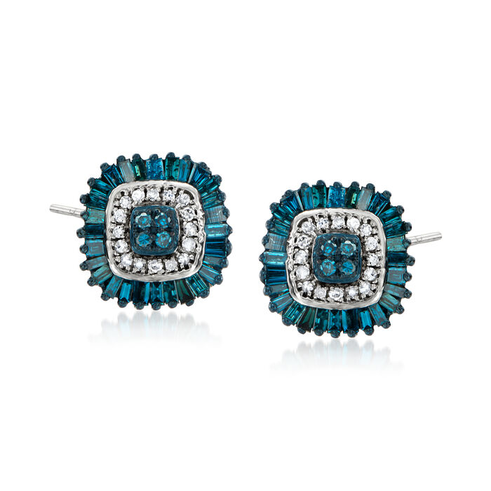 .50 ct. t.w. Blue and White Diamond Stud Earrings in Sterling Silver
