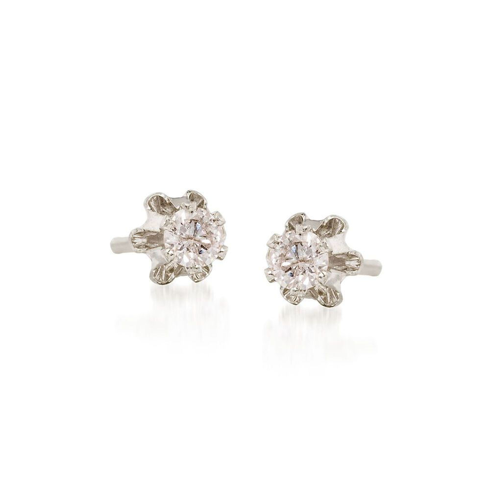 Child S Diamond Accent Stud Earrings In 14kt White Gold Default