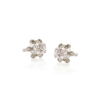 Child's Diamond Accent Stud Earrings in 14kt White Gold, , default