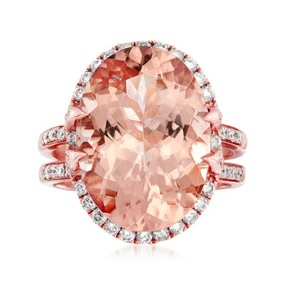 13.00 Carat Morganite and .87 ct. t.w. Diamond Ring in 14kt Rose Gold