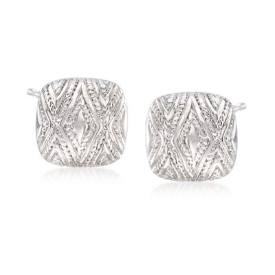 "Andrea Candela ""Tapiceria"" Sterling Silver Chevron Square Stud Earrings"