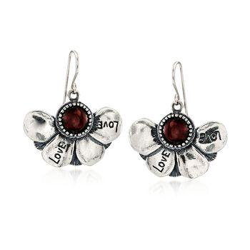 3.00 ct. t.w. Garnet Floral Drop Earrings in Sterling Silver, , default