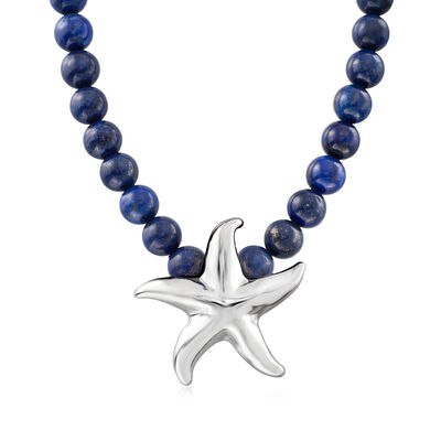 Lapis Starfish Necklace in Sterling Silver