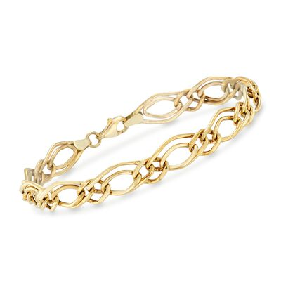 14kt Yellow Gold Double-Oval Link Bracelet, , default