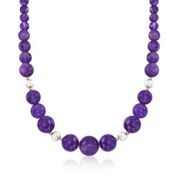 4-16mm Amethyst Bead and 8-9mm Cultured Pearl Necklace With Sterling Silver, , default