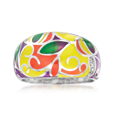 Multicolored Enamel Swirl Ring in Sterling Silver