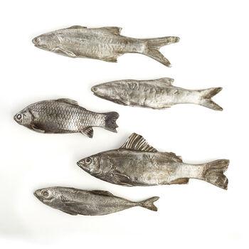 """Silver Stream"" Set of Five Decorative Fish, , default"