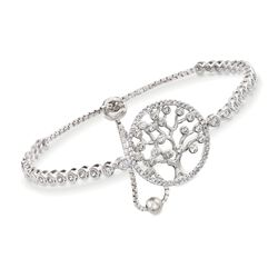 1.50 ct. t.w. CZ Tree of Life Bolo Bracelet in Sterling Silver, , default