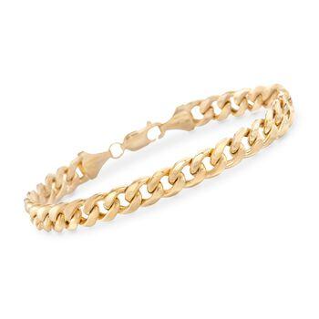 "Men's 7.8mm Miami Cuban Link Bracelet in 14kt Yellow Gold. 8.5"", , default"