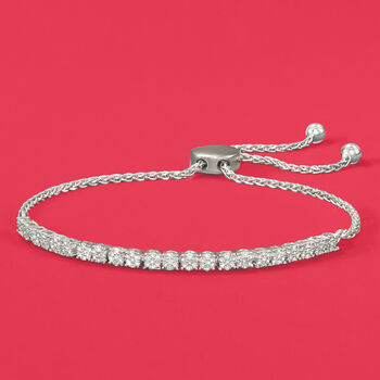.50 ct. t.w. Diamond Cluster Bolo Bracelet in Sterling Silver, , default