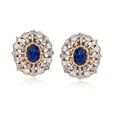 C. 1980 Vintage 2.85 ct. t.w. Sapphire and 1.15 ct. t.w. Diamond Earrings in 14kt Two-Tone Gold, , default