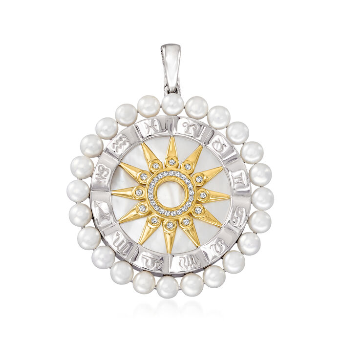 26mm Mother-Of-Pearl, Cultured Pearl and .10 ct. t.w. Diamond Zodiac Pendant in Two-Tone Sterling Silver