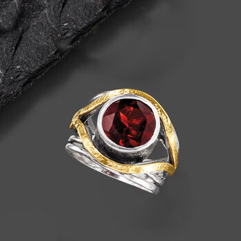 3.50 Carat Garnet Ring in Sterling Silver with 14kt Yellow Gold