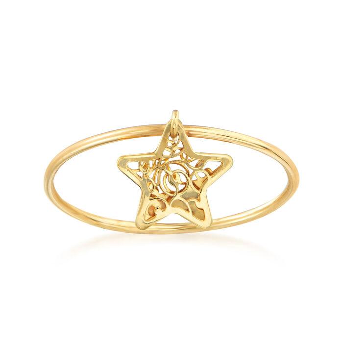 Italian 18kt Yellow Gold Filigree Star Charm Ring