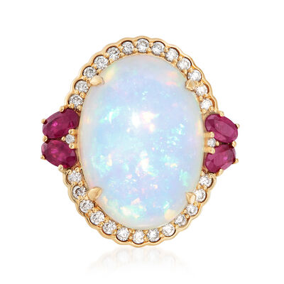 Ethiopian Opal, 1.00 ct. t.w. Ruby and .54 ct. t.w. Diamond Ring in 18kt Yellow Gold, , default