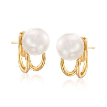 18kt Gold Over Sterling Jewelry Set: Front-Back Jackets and 8-8.5mm Shell Pearl Earrings, , default
