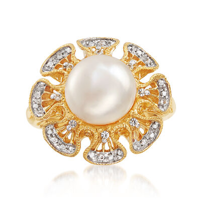 10mm Cultured Pearl and .11 ct. t.w. White Topaz Ring in 18kt Gold Over Sterling , , default