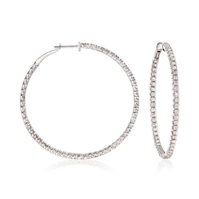 """C. 2000 Vintage 3.30 ct. t.w. Diamond Inside-Outside Hoop Earrings in 14kt White Gold. 2"""", , default"""