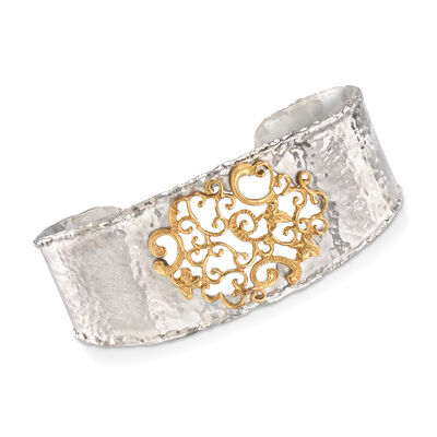 Sterling Silver and 14kt Yellow Gold Filigree Cuff Bracelet, , default