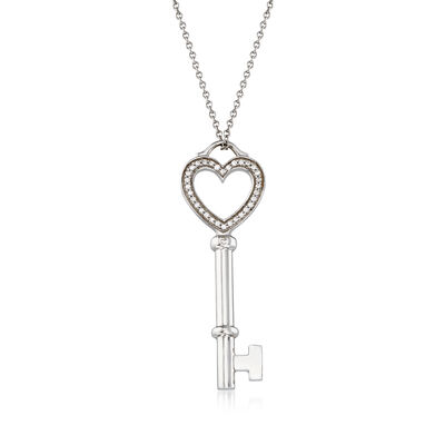 C. 1990 Vintage Tiffany Jewelry .10 ct. t.w. Diamond Key Pendant Necklace in 18kt White Gold, , default