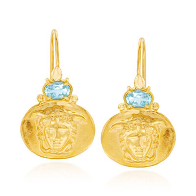 Italian 1.40 ct. t.w. Blue Topaz Medusa Drop Earrings in 18kt Gold Over Sterling, , default