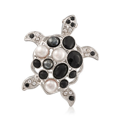 Italian 6-7mm Cultured Button Pearl and Multi-Stone Turtle Pin Pendant in Sterling Silver, , default