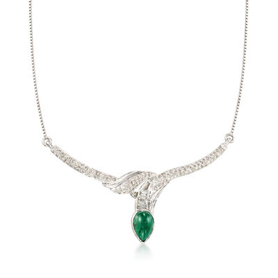 3.60 Carat Emerald and 1.55 ct. t.w. Diamond Necklace in 18kt White Gold