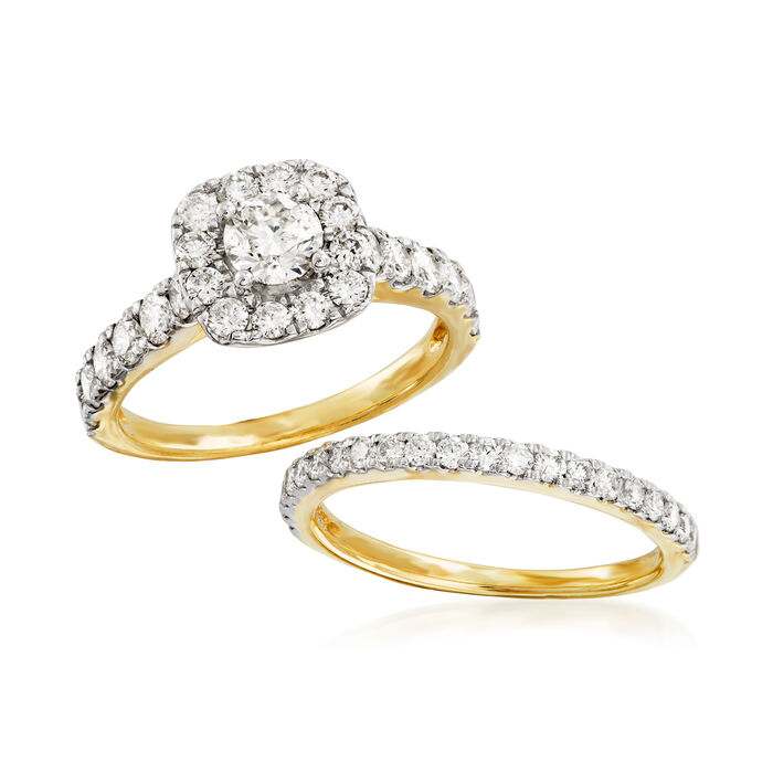 2.00 ct. t.w. Diamond Bridal Set: Engagement and Wedding Rings in 14kt Yellow Gold