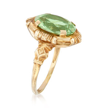 C. 1960 Vintage Green Glass Ring in 10kt Yellow Gold. Size 6.5, , default