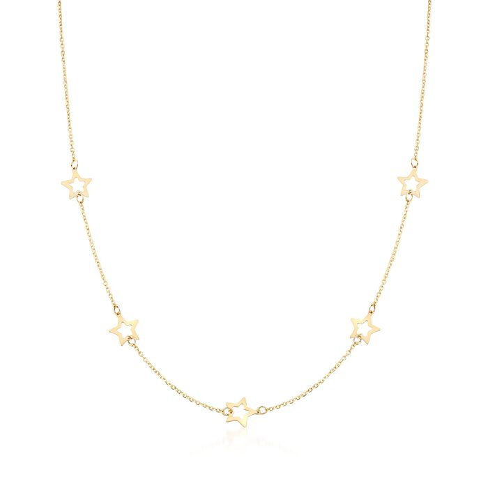 Italian 14kt Yellow Gold Open-Space Star Station Necklace, , default