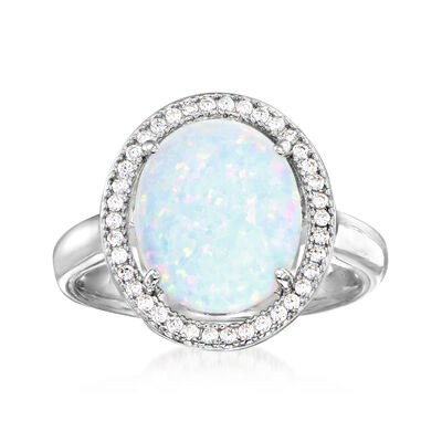 Charles Garnier Simulated Opal and .30 ct. t.w. CZ Ring in Sterling Silver