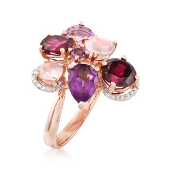 Rose Quartz and 4.90 ct. t.w. Multi-Stone Ring With Diamonds in 14kt Rose Gold, , default