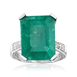Green Beryl and .13 ct. t.w. White Topaz Ring in Sterling Silver, , default