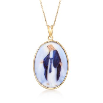 "Enameled Porcelain Blessed Mary Pendant Necklace in 14kt Yellow Gold. 18"", , default"