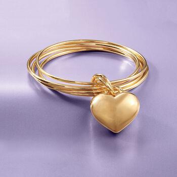 Italian Andiamo 14kt Yellow Gold Heart Charm Multi-Bangle Bracelet