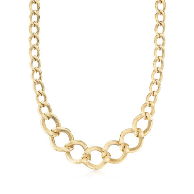 Italian 18kt Yellow Gold Graduated Oval-Link Necklace, , default